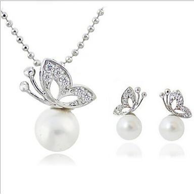Dames Sieraden Set Ketting / Oorbellen Parel Imitatieparel Strass Verzilverd Gesimuleerde diamant Legering Vlinder Dier Luxe Klassiek