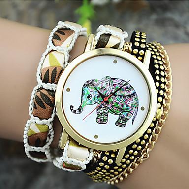 Mulheres Quartzo Bracele Relógio Venda imperdível Tecido Banda Boêmio Fashion Preta Branco Azul Laranja Roxa Rose
