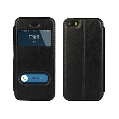 hoesje Voor iPhone 5 Apple iPhone 8 iPhone 8 Plus iPhone 5 hoesje met standaard met venster Flip Volledig hoesje Effen Kleur Hard PU-nahka