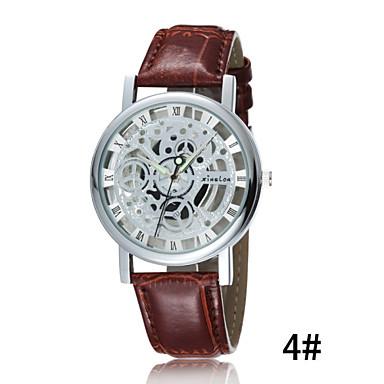 Χαμηλού Κόστους Ανδρικά ρολόγια-Ανδρικά Διάφανο Ρολόι Ρολόι Καρπού Χαλαζίας Δέρμα Μαύρο / Καφέ 30 m Ανθεκτικό στο Νερό Φωτίζει Αναλογικό 2# 3 Κιλά 4#