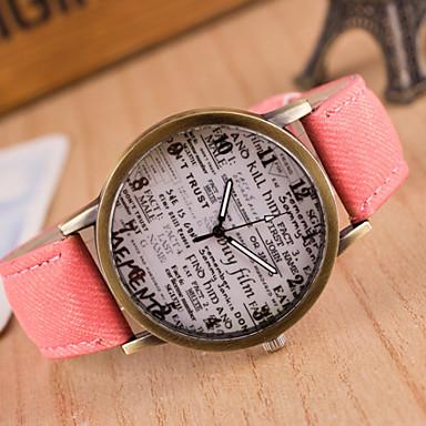 Dames Modieus horloge Kwarts Hot Sale Leer Band Vintage Zwart Wit Blauw Rood Bruin Groen Grijs Roze Geel