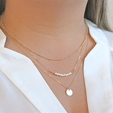 Femme Perle Pendentif de collier Colliers chaînes - Multicouches Mode Doré Colliers Tendance Pour Soirée Quotidien Décontracté