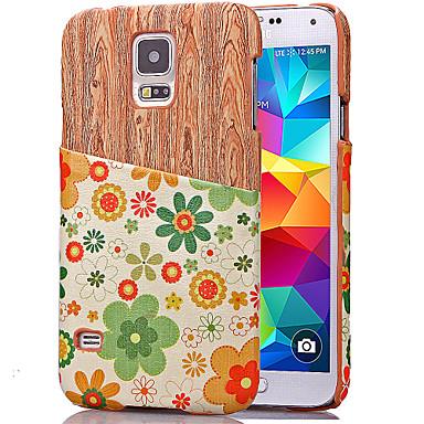 Para Samsung Galaxy Capinhas Porta-Cartão Capinha Capa Traseira Capinha Madeira Couro PU Samsung S5 Mini / S5 / S4