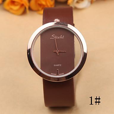 Mulheres Relógio de Moda Relógio Casual Quartzo Gravação Oca Couro Banda Preta Branco Vermelho Marrom