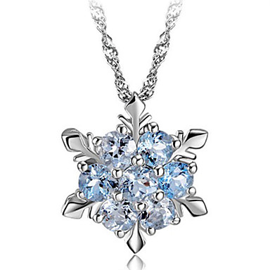 Women's Crystal Pendant Necklace - Sterling Silver, Crystal, Silver Snowflake Fashion Green, Blue, Pink Necklace For Party, Daily, Casual