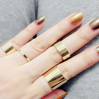 Anéis Pesta / Diário / Casual Jóias Liga Feminino Anéis Meio Dedo 1conjunto,Ajustável Dourado