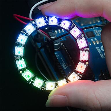 ws2812 5050 rgb 16 geleide round ontwikkeling lamp board - zwart
