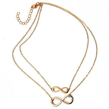Women's Pendant Necklace - Infinity Basic, Double-layer Silver, Golden Necklace Jewelry For Party, Daily, Casual