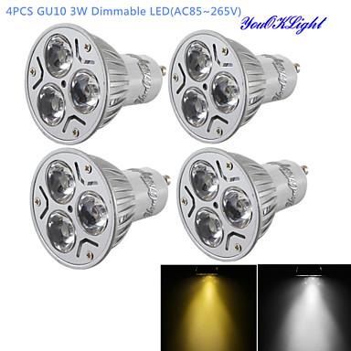 Недорогие Светодиодные электролампы-YouOKLight 4шт 3 W Точечное LED освещение 280 lm GU10 R63 3 Светодиодные бусины Высокомощный LED Диммируемая Декоративная Тёплый белый Холодный белый 220-240 V 110-130 V / 4 шт. / RoHs