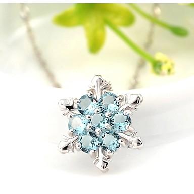 e19cbaeda6d6 abordables Collares-Mujer Cristal Collares con colgantes Plata de ley  Cristal Plata Copo de Nieve