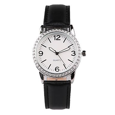Dames Modieus horloge Kwarts Waterbestendig imitatie Diamond PU Band Glitter Bedeltjes Zwart Zwart