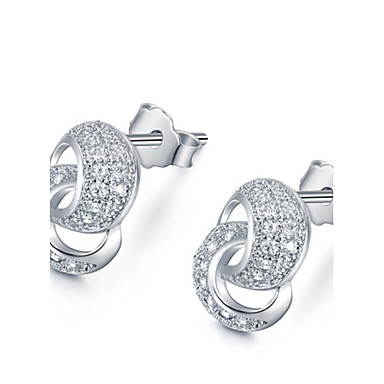 Oorknopjes Sterling zilver Wit Gouden Sieraden Voor Bruiloft Feest Dagelijks 1 Set