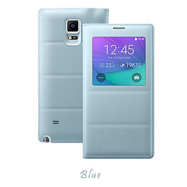 venster effen kleur lederen full body case flip cover voor Samsung Galaxy Note 4 (assorti kleur)