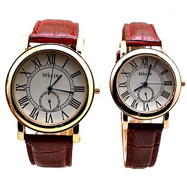 Masculino Mulheres Casal Relógio de Moda Digital Relógio Casual PU Banda Preta Branco Vermelho Marrom Branco Preto Marron Vermelho