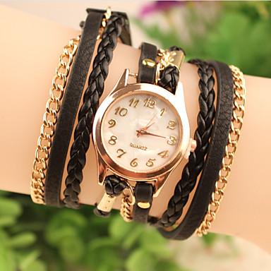 Mulheres Bracele Relógio Relógio de Moda Quartzo Couro Banda Preta Branco Vermelho Marrom Rosa Roxa