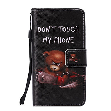 kettingzaag bear painted pu phone case voor galaxy a5 / a3 galaxy a series cases / covers