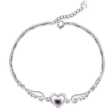 Femme Chaînes & Bracelets Charmes pour Bracelets - Argent sterling Ailes d'anges Bracelet Blanc / Violet Pour Regalos de Navidad Mariage Soirée