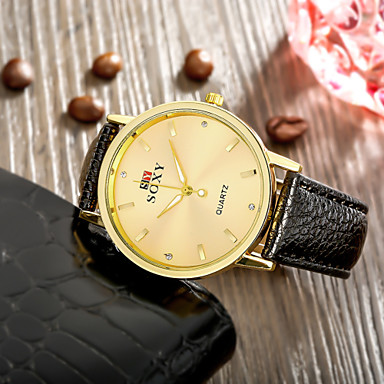 Homens Relógio de Moda Quartzo Couro Banda Preta Branco Marrom Bege