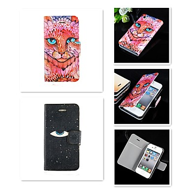 een oog voor een oog patroon pu lederen full body case voor de iPhone 4 / 4s