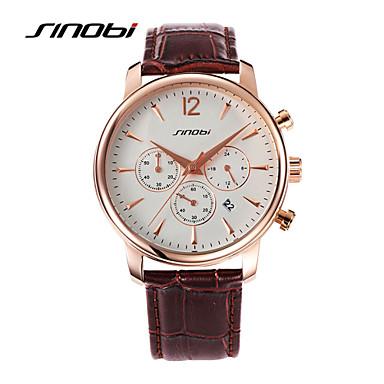 Homens Relógio de Pulso Relógio Esportivo Quartzo Calendário Impermeável Relógio Esportivo Couro Banda Preta