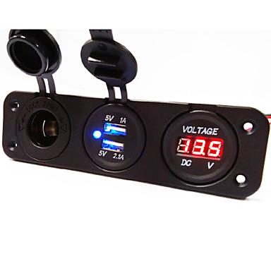 3 hole panel stopcontact + Dual USB autolader socket + voltmeter