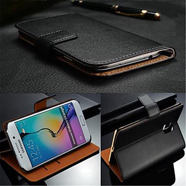 Недорогие Чехлы и кейсы для Galaxy S3-Кейс для Назначение SSamsung Galaxy S7 edge / S7 / S6 edge plus Бумажник для карт / Флип Чехол Однотонный Настоящая кожа