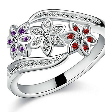 Women's Couple Rings Statement Ring Open Cuff Ring - Sterling Silver, Zircon Flower, Love Bridal 7 / 8 / 9 Silver For Christmas Gifts Wedding Party