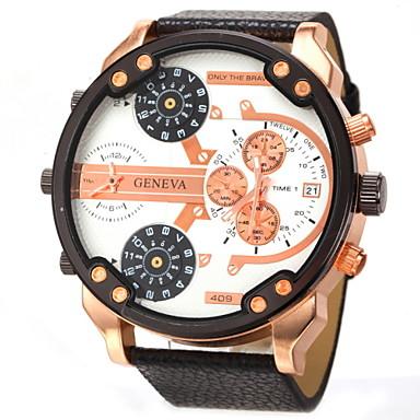Heren Militair horloge Polshorloge Kwarts Kalender Dubbele tijdzones Roos verguld Leer Band Zwart Orange Wit Zwart Oranje