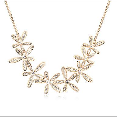 billige Mode Halskæde-Dame Krystal Kort halskæde Rhinsten Blomst Sneflage Damer Guld Halskæder Smykker Til