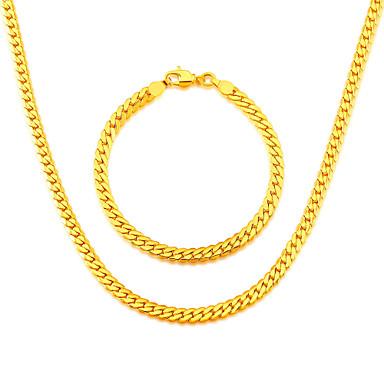 Homens Conjunto de jóias - Chapeado Dourado Incluir Dourado / Prateado / Cinzento Para Casamento / Festa / Diário / Colares / Bracelete