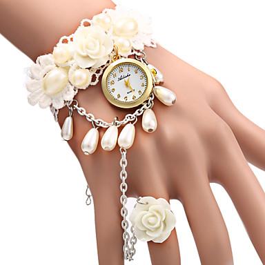 Mulheres Relógio de Moda Bracele Relógio Quartzo Relógio Casual Tecido Banda Flor Pérolas Branco Branco