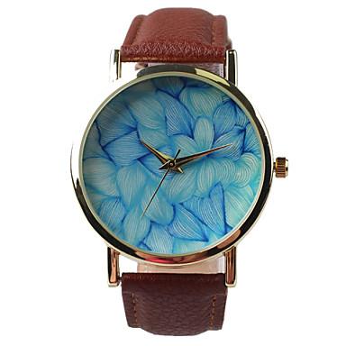 Dames Modieus horloge Kwarts Waterbestendig PU Band Glitter Bladeren Bruin Bruin
