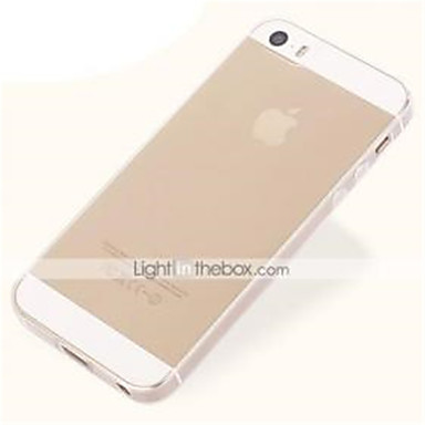 Pouzdro Uyumluluk iPhone 5 / Apple iPhone 5 Kılıf Ultra İnce / Şeffaf Arka Kapak Solid Yumuşak TPU için iPhone SE / 5s / iPhone 5
