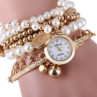 Dames Armbandhorloge Modieus horloge Kwarts Vrijetijdshorloge Legering Band Parels Zilver Goud
