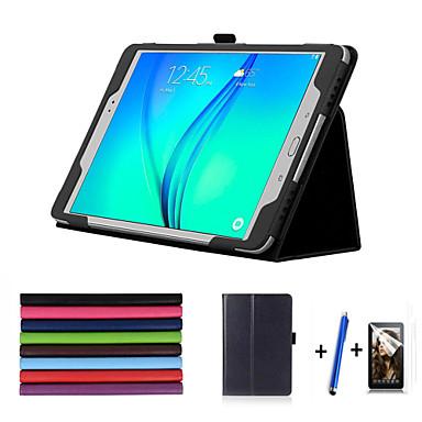 hoesje Voor Samsung Galaxy Tabblad Een 9.7 met standaard Automatisch aan / uit Flip Volledig hoesje Effen Kleur Hard PU-nahka voor