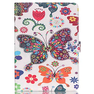 couro folio borboleta ficar caso da tampa com suporte para o ar ipad