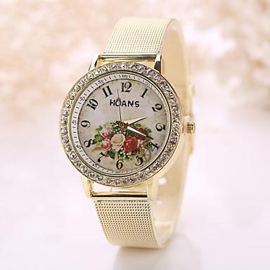 여성용 석영 모조 다이아몬드 시계 손목 시계 드레스 시계 모조 다이아몬드 캐쥬얼 시계 스테인레스 스틸 밴드 꽃 빈티지 패션 실버 골드
