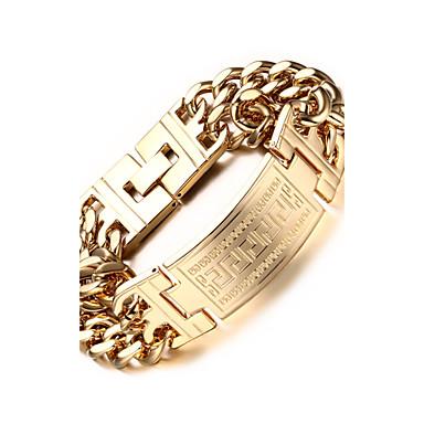 voordelige Fijne Sieraden-Heren Armbanden met ketting en sluiting Dames Roestvast staal Armband sieraden Zilver / Gouden Voor Feest Dagelijks Causaal Sport / Verguld