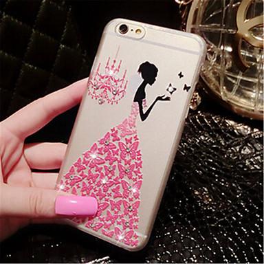 strass vestido de casamento 3d alívio de luxo cristal rígido de volta caso de telefone para o iPhone 6 Plus / 6s mais