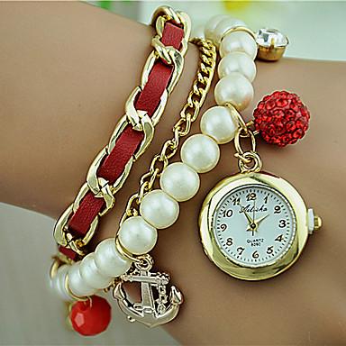Dames Kwarts Armbandhorloge Modieus horloge Legering Band Parels Zwart Wit Blauw Rood Beige