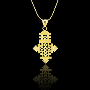 Mulheres Pingentes Cruz Chapeado Dourado Metal Fashion Jóias Para Diário