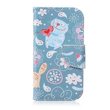 Para Samsung Galaxy Capinhas Porta-Cartão / Carteira / Com Suporte / Flip Capinha Corpo Inteiro Capinha Gato Couro PU SamsungS6 edge plus