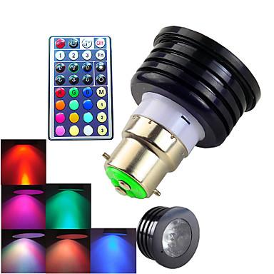 B22 LED Σποτάκια MR16 1 LED Υψηλης Ισχύος 300 lm RGB Με ροοστάτη Τηλεχειριζόμενο Διακοσμητικό AC 100-240 V 1 τμχ