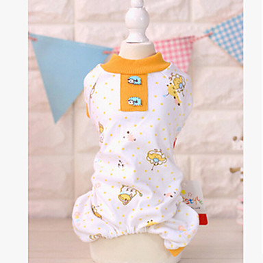 cheap Dog Clothing & Accessories-Dog Jumpsuit Pajamas Dog Clothes Cartoon Yellow Pink Cotton Costume For Spring &  Fall Winter Men's Women's Casual / Daily