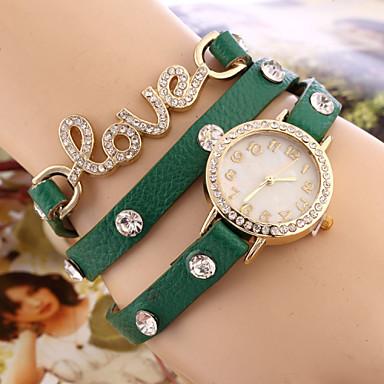 Dames Modieus horloge Armbandhorloge Kwarts Leer Band Zwart Wit Blauw Orange Groen roze