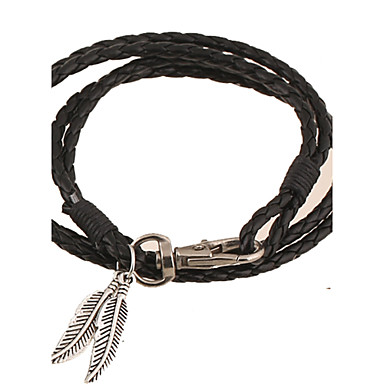 Lederen armbanden Modieus Folk Style Met de hand gemaakt Europees Leder Bladvorm Zwart Bruin Rood Groen Blauw Sieraden Voor Feest