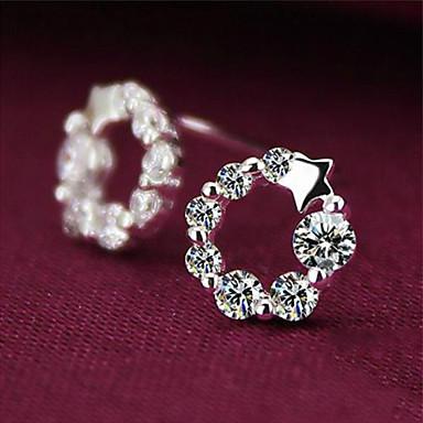 Mulheres Estrela Cristal Prata de Lei Strass Prateado Brincos Curtos - Cruz Estrela Para Casamento Festa Diário