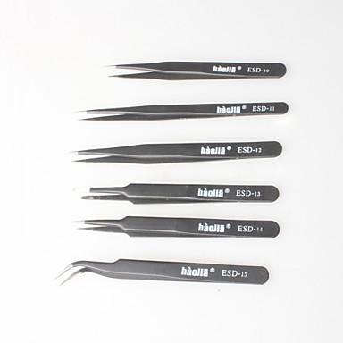 pinças não magnéticos preto, saco anti-estática para a eletrônica, fazer jóias, laboratórios, etc. (6p)