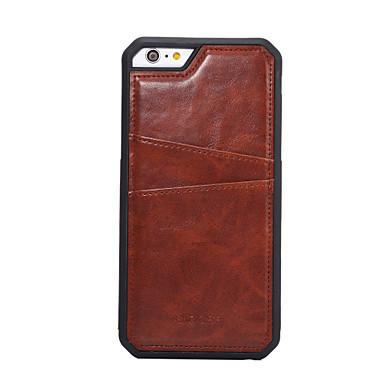 Capinha Para Apple iPhone 6 iPhone 6 Plus Porta-Cartão Capa traseira Sólido Rígida PU Leather para iPhone 6s Plus iPhone 6s iPhone 6 Plus