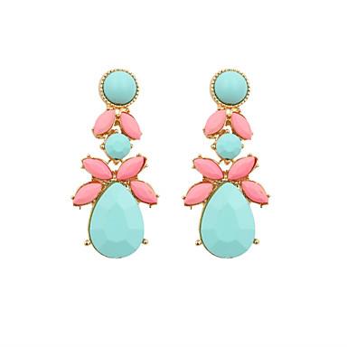 Druppel oorbellen Luxe Sieraden Hars imitatie Diamond Emaille Legering Roze en Groen Sieraden Voor Bruiloft Feest Dagelijks Causaal Sport